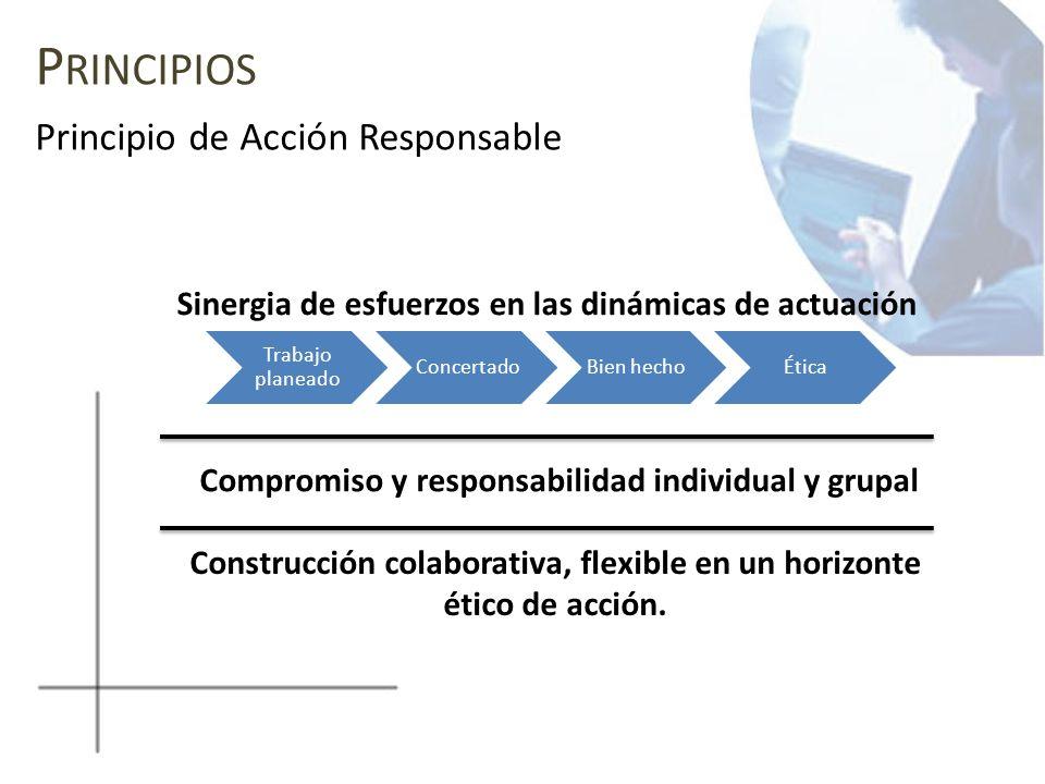 P RINCIPIOS Principio de Acción Responsable Sinergia de esfuerzos en las dinámicas de actuación Construcción colaborativa, flexible en un horizonte ét