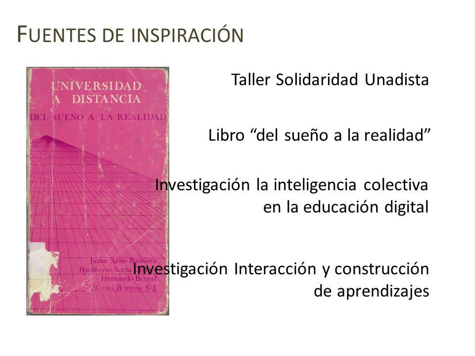 F UENTES DE INSPIRACIÓN Taller Solidaridad Unadista Investigación Interacción y construcción de aprendizajes Investigación la inteligencia colectiva e