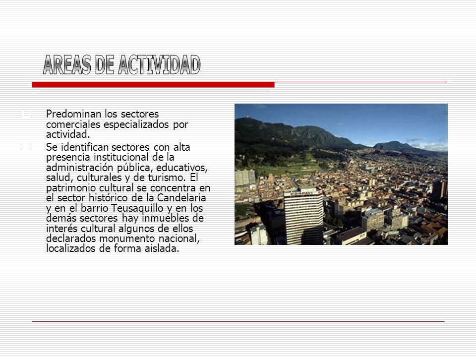 Predominan los sectores comerciales especializados por actividad. Se identifican sectores con alta presencia institucional de la administración públic