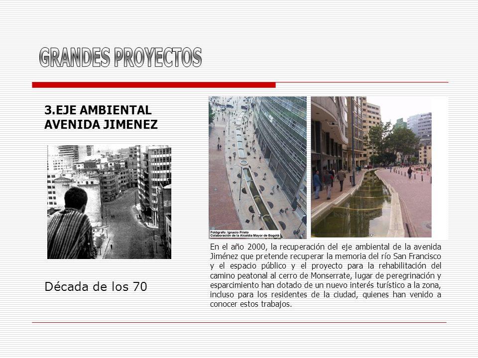 3.EJE AMBIENTAL AVENIDA JIMENEZ Década de los 70 En el año 2000, la recuperación del eje ambiental de la avenida Jiménez que pretende recuperar la mem