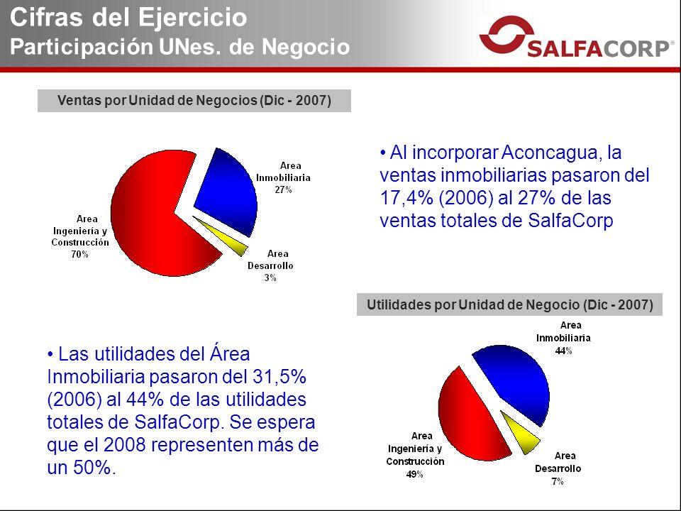 Ventas por Unidad de Negocios (Dic - 2007) Utilidades por Unidad de Negocio (Dic - 2007) Cifras del Ejercicio Participación UNes.