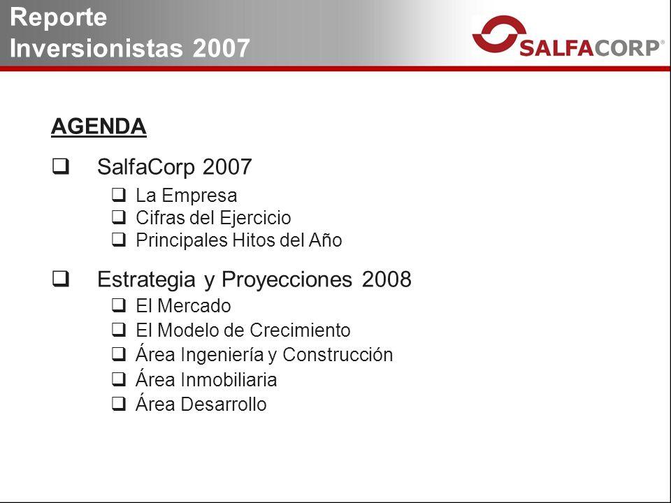 AGENDA SalfaCorp 2007 La Empresa Cifras del Ejercicio Principales Hitos del Año Estrategia y Proyecciones 2008 El Mercado El Modelo de Crecimiento Área Ingeniería y Construcción Área Inmobiliaria Área Desarrollo Reporte Inversionistas 2007