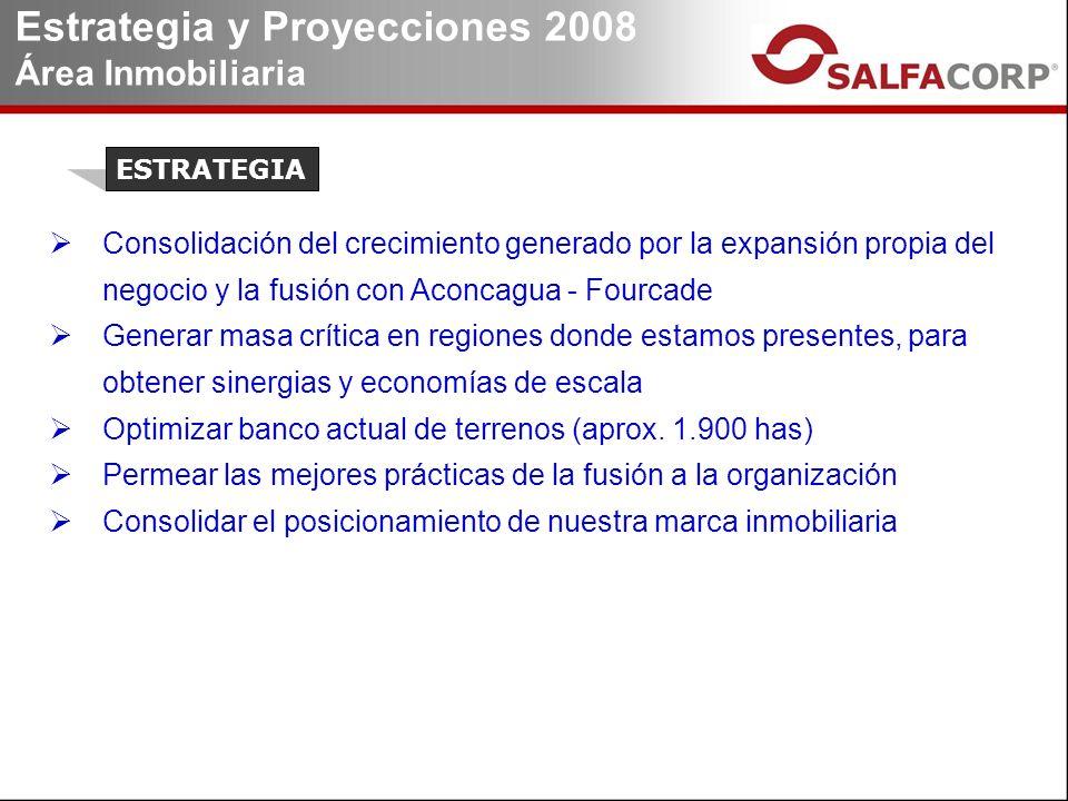 Consolidación del crecimiento generado por la expansión propia del negocio y la fusión con Aconcagua - Fourcade Generar masa crítica en regiones donde estamos presentes, para obtener sinergias y economías de escala Optimizar banco actual de terrenos (aprox.