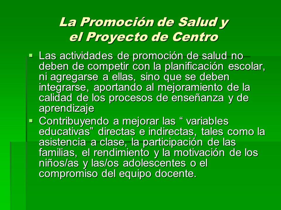 La Promoción de Salud y el Proyecto de Centro Las actividades de promoción de salud no deben de competir con la planificación escolar, ni agregarse a