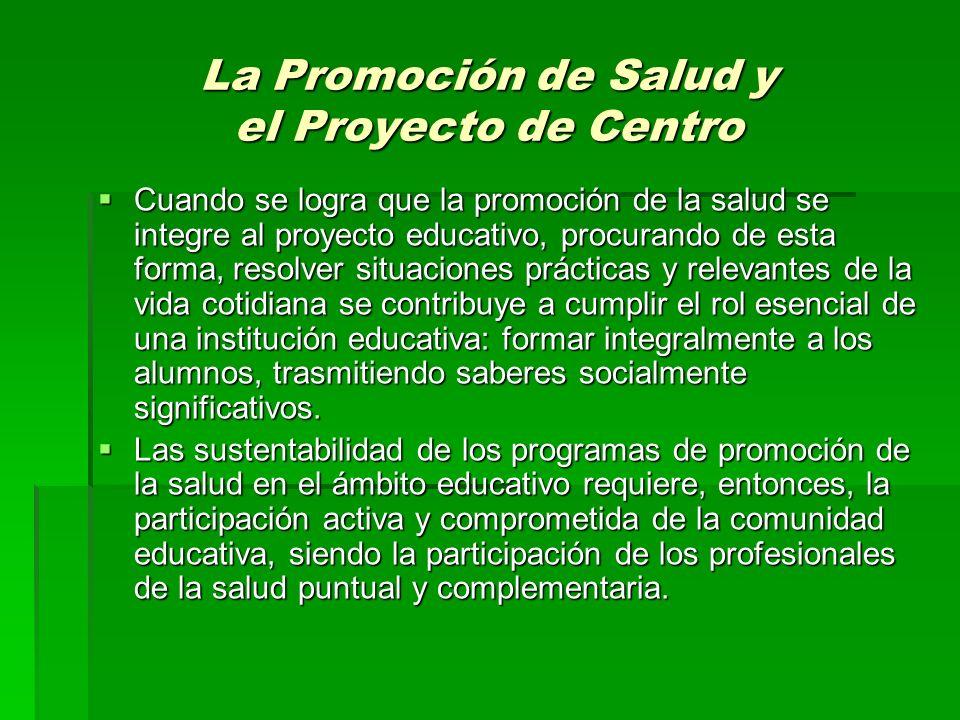 La Promoción de Salud y el Proyecto de Centro Cuando se logra que la promoción de la salud se integre al proyecto educativo, procurando de esta forma,