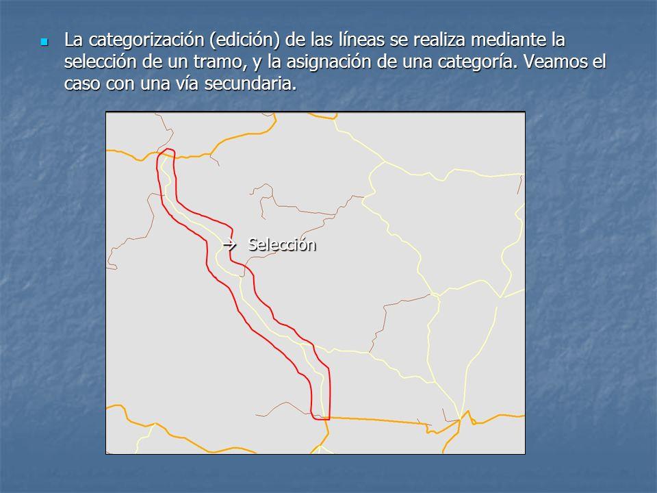 La categorización (edición) de las líneas se realiza mediante la selección de un tramo, y la asignación de una categoría.