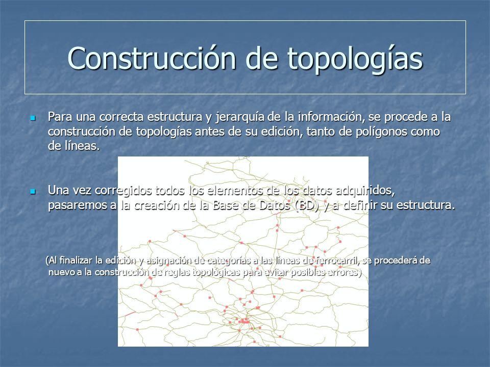 Construcción de topologías Para una correcta estructura y jerarquía de la información, se procede a la construcción de topologías antes de su edición, tanto de polígonos como de líneas.