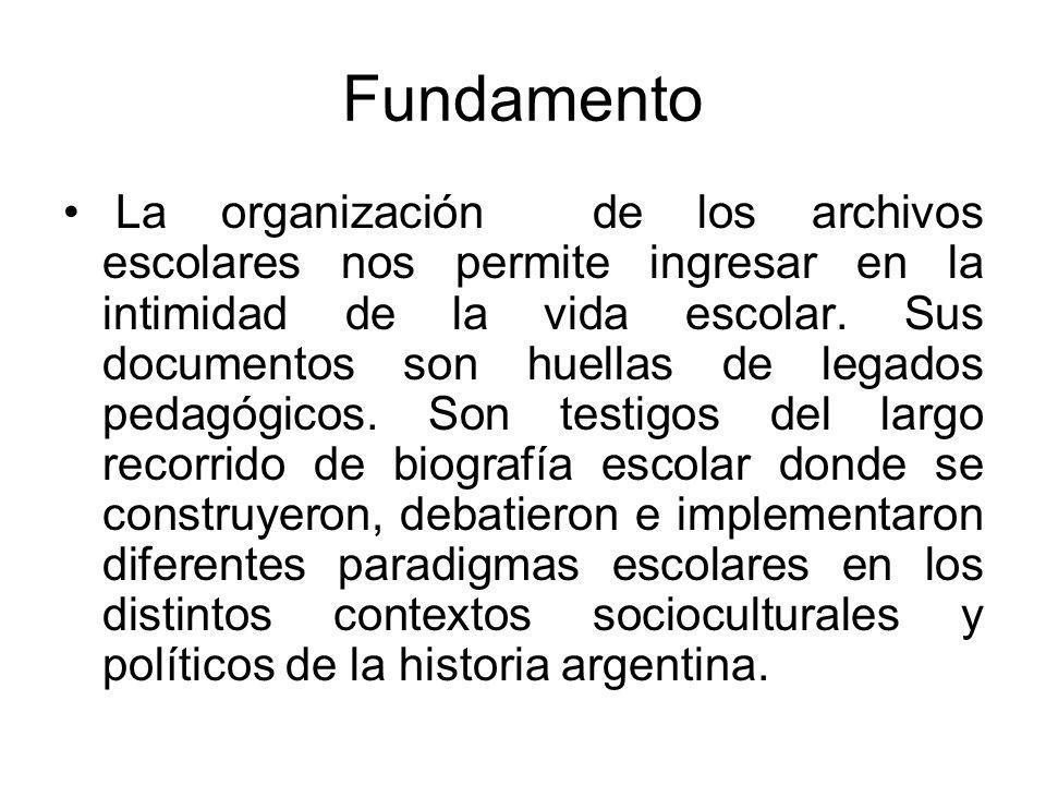 Fundamento La organización de los archivos escolares nos permite ingresar en la intimidad de la vida escolar.