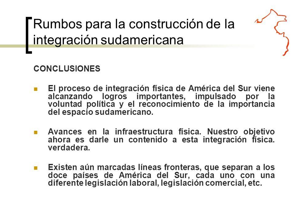 CONCLUSIONES El proceso de integración física de América del Sur viene alcanzando logros importantes, impulsado por la voluntad política y el reconocimiento de la importancia del espacio sudamericano.