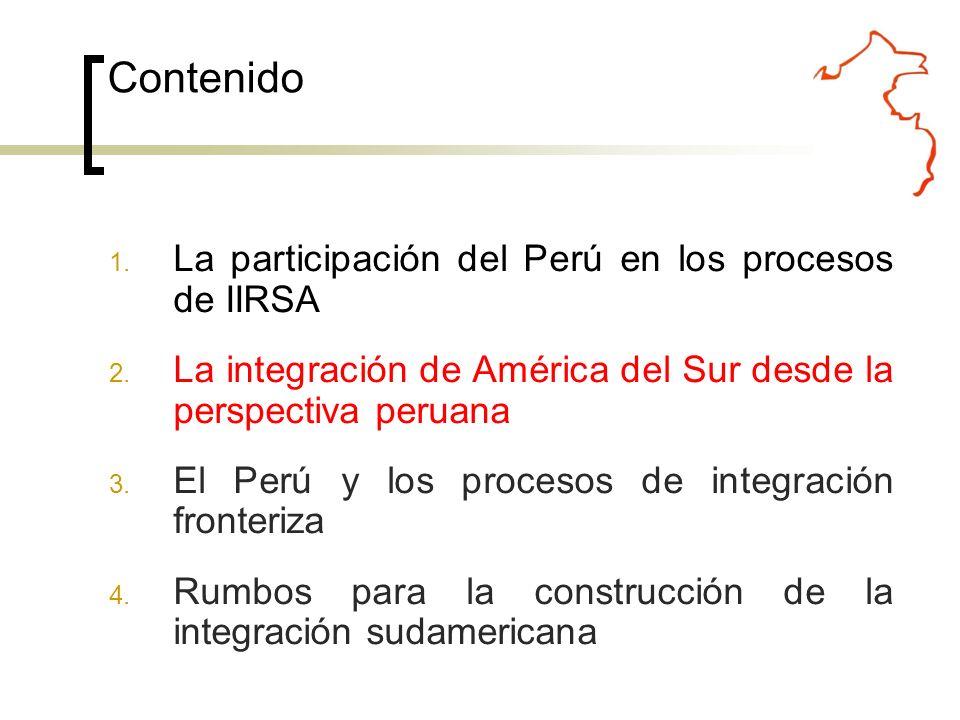 El enfoque estratégico del Perú en torno a la integración regional sudamericana está asociado la Sexta Política de Estado del Acuerdo Nacional: participará activamente en los procesos de integración política, social, económica y física, en los niveles subregional, regional y hemisférico El Estado peruano participará activamente en los procesos de integración política, social, económica y física, en los niveles subregional, regional y hemisférico, e impulsará el desarrollo sostenible de las regiones fronterizas del país y su integración con espacios similares de los países vecinos.
