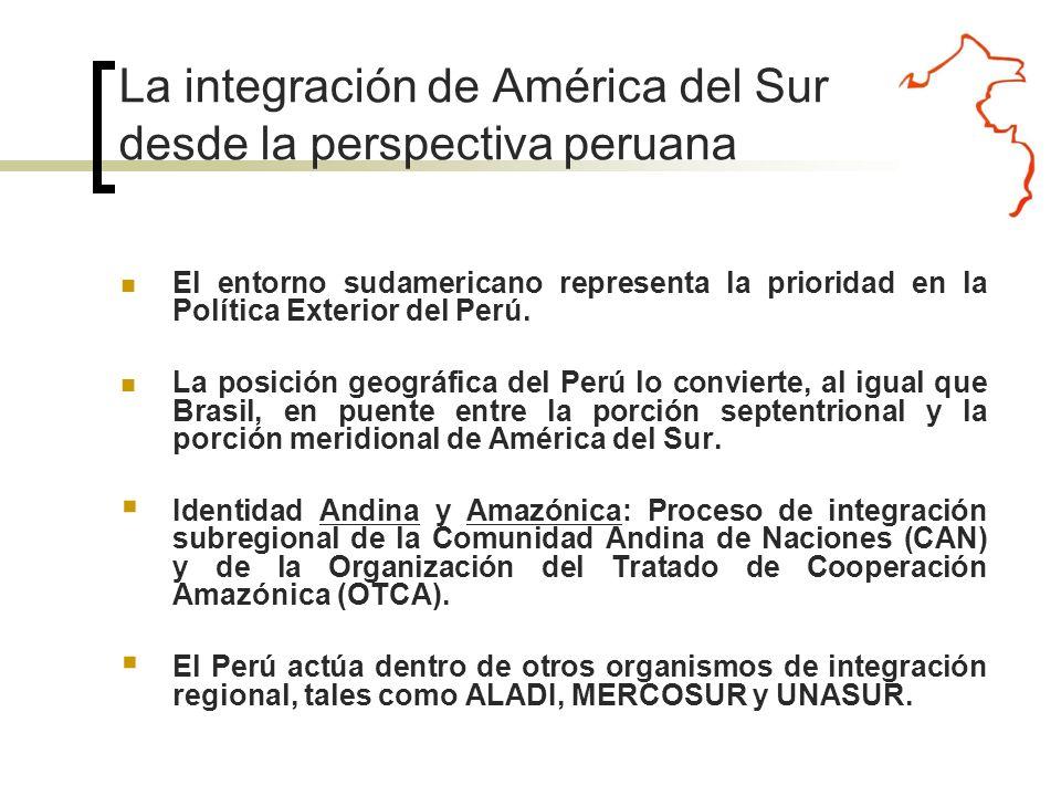 Integración Profunda con Ecuador Asociación Preferencial con Colombia Alianza Estratégica con Brasil Integración Profunda con Bolivia Asociación Estratégica con Chile Este compromiso se encuentra reforzado y complementado con los avances alcanzados en el campo de nuestras relaciones bilaterales inmediatas.