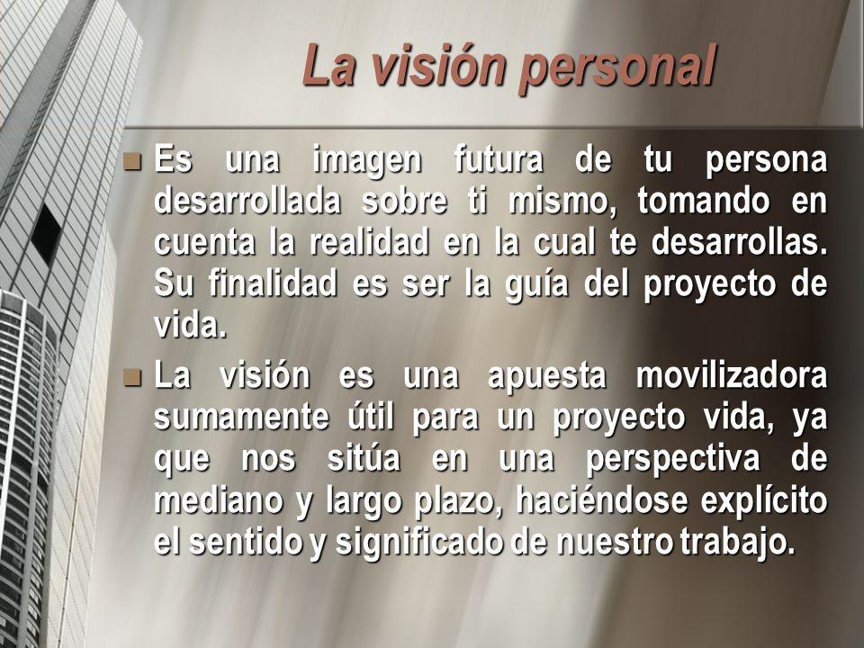 La visión personal Es una imagen futura de tu persona desarrollada sobre ti mismo, tomando en cuenta la realidad en la cual te desarrollas.