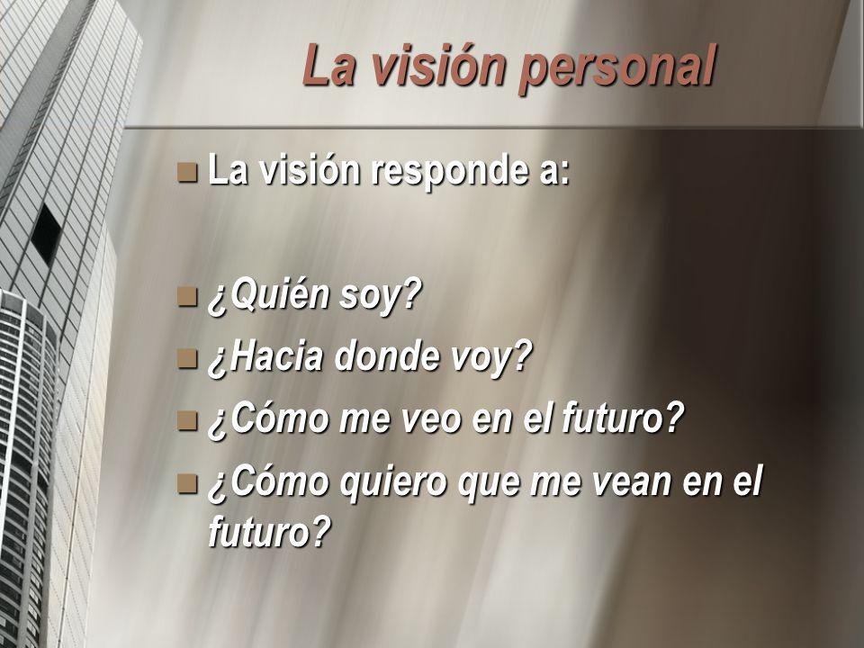 La visión personal La visión responde a: La visión responde a: ¿Quién soy? ¿Quién soy? ¿Hacia donde voy? ¿Hacia donde voy? ¿Cómo me veo en el futuro?