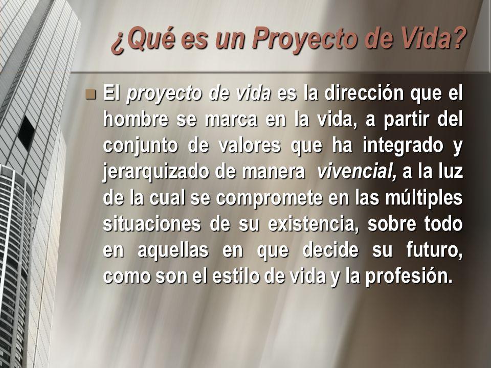 ¿Qué es un Proyecto de Vida? El proyecto de vida es la dirección que el hombre se marca en la vida, a partir del conjunto de valores que ha integrado
