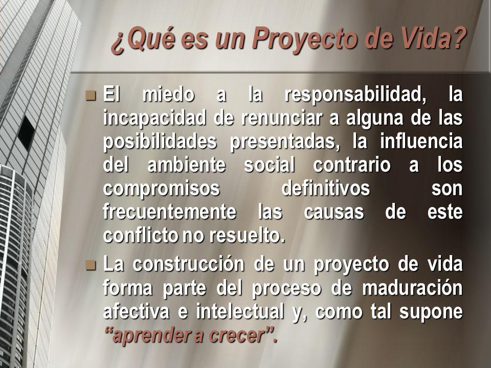 ¿Qué es un Proyecto de Vida? El miedo a la responsabilidad, la incapacidad de renunciar a alguna de las posibilidades presentadas, la influencia del a