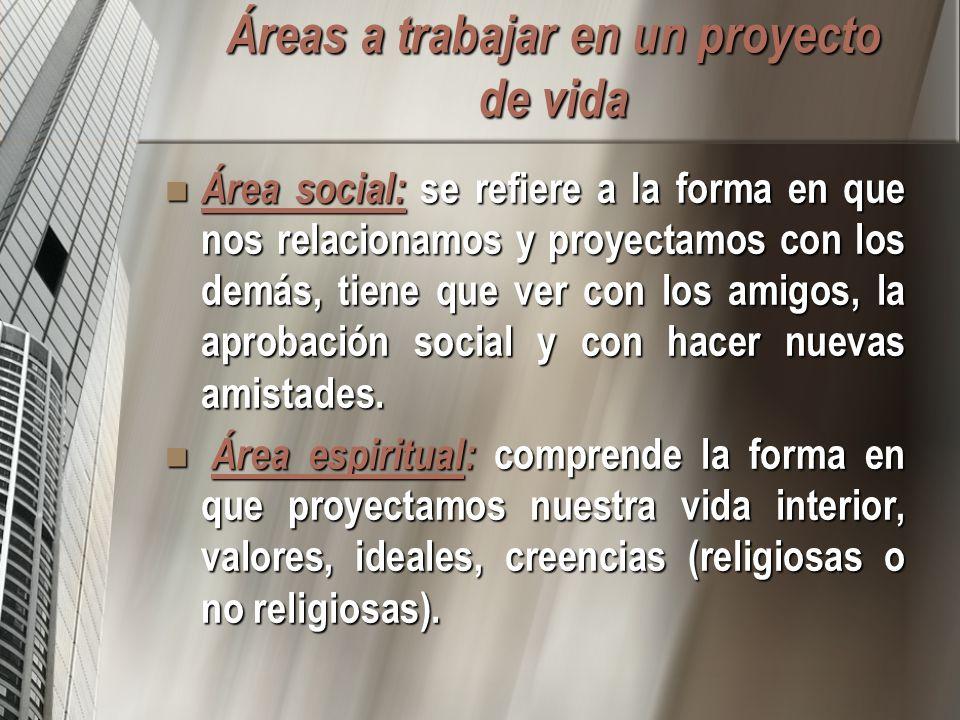 Áreas a trabajar en un proyecto de vida Área social: se refiere a la forma en que nos relacionamos y proyectamos con los demás, tiene que ver con los amigos, la aprobación social y con hacer nuevas amistades.