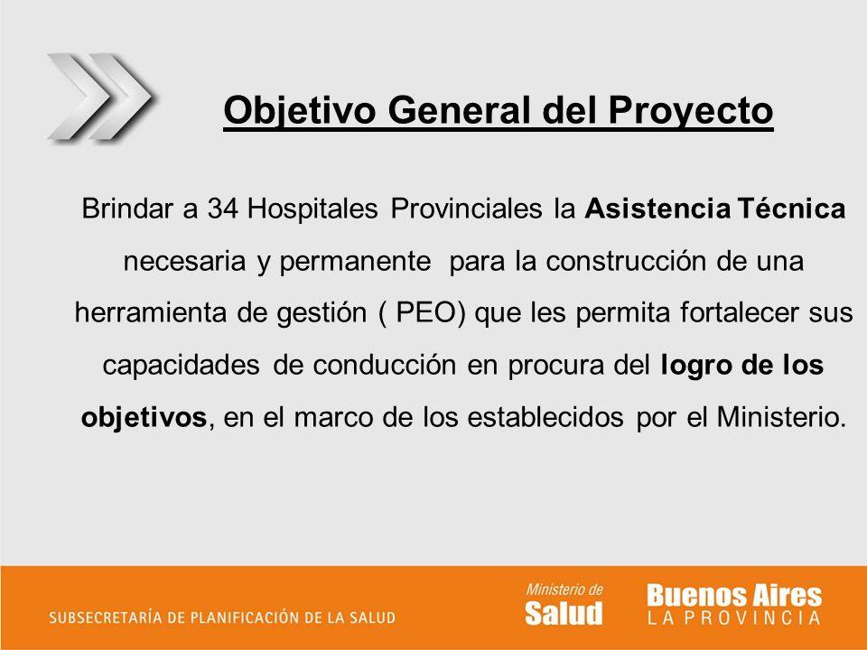 Objetivo General del Proyecto Brindar a 34 Hospitales Provinciales la Asistencia Técnica necesaria y permanente para la construcción de una herramient