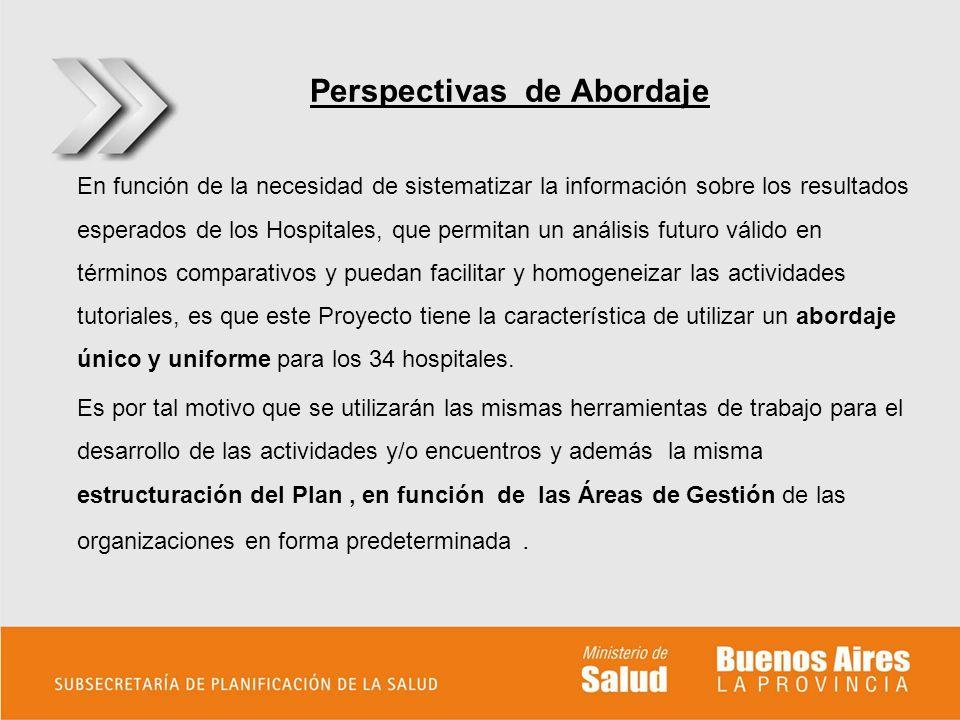 Perspectivas de Abordaje En función de la necesidad de sistematizar la información sobre los resultados esperados de los Hospitales, que permitan un a