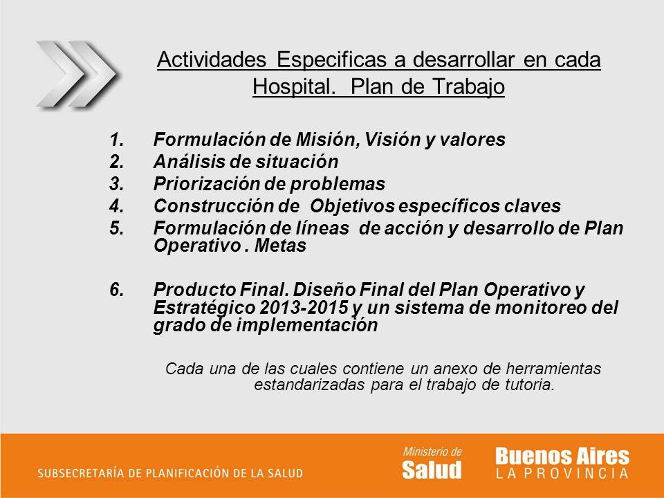 Actividades Especificas a desarrollar en cada Hospital. Plan de Trabajo 1.Formulación de Misión, Visión y valores 2.Análisis de situación 3.Priorizaci