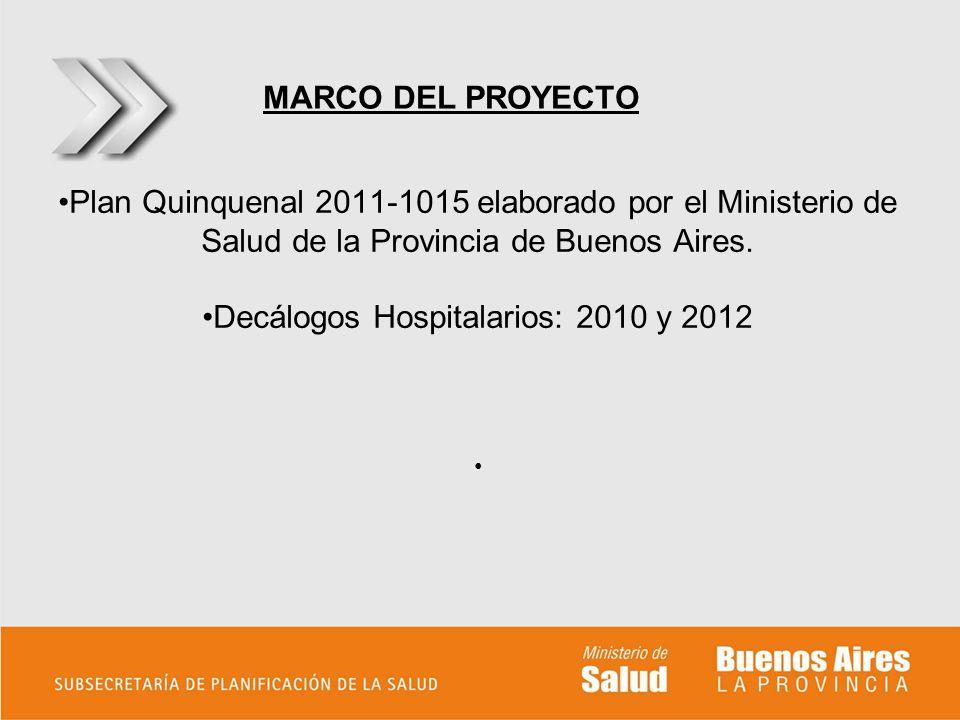 Plan Quinquenal 2011-1015 elaborado por el Ministerio de Salud de la Provincia de Buenos Aires. Decálogos Hospitalarios: 2010 y 2012 MARCO DEL PROYECT