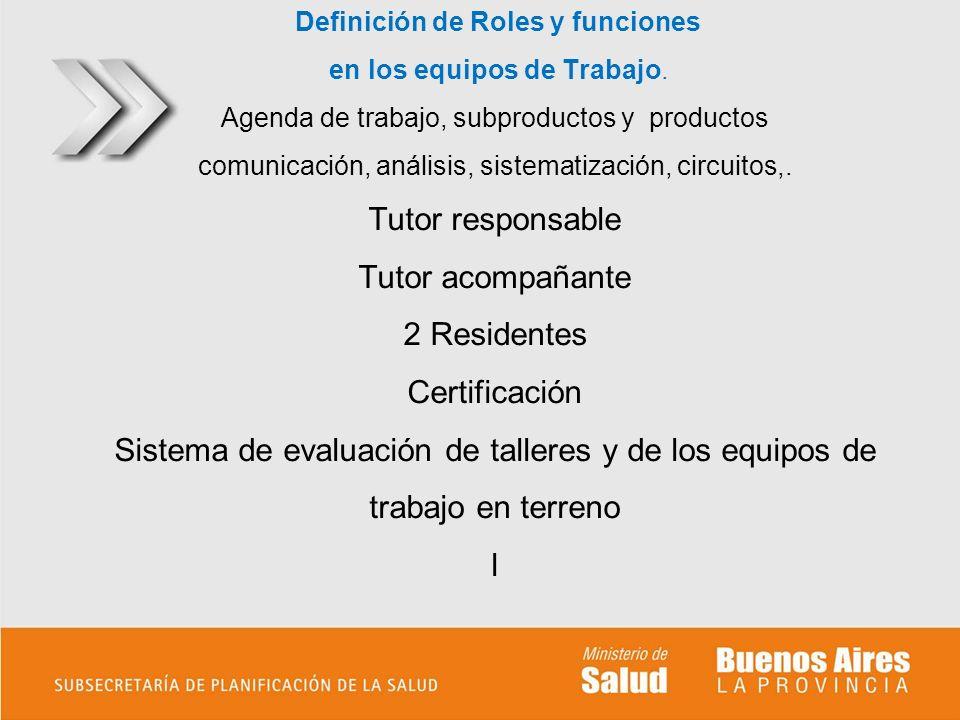 Definición de Roles y funciones en los equipos de Trabajo. Agenda de trabajo, subproductos y productos comunicación, análisis, sistematización, circui