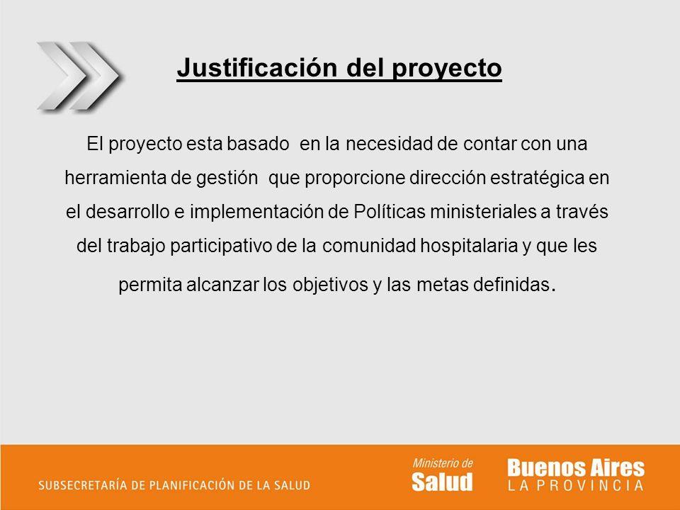 Justificación del proyecto El proyecto esta basado en la necesidad de contar con una herramienta de gestión que proporcione dirección estratégica en e