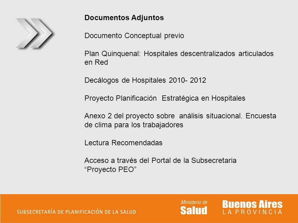 Documentos Adjuntos Documento Conceptual previo Plan Quinquenal: Hospitales descentralizados articulados en Red Decálogos de Hospitales 2010- 2012 Pro