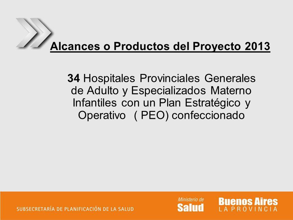 Alcances o Productos del Proyecto 2013 34 Hospitales Provinciales Generales de Adulto y Especializados Materno Infantiles con un Plan Estratégico y Op