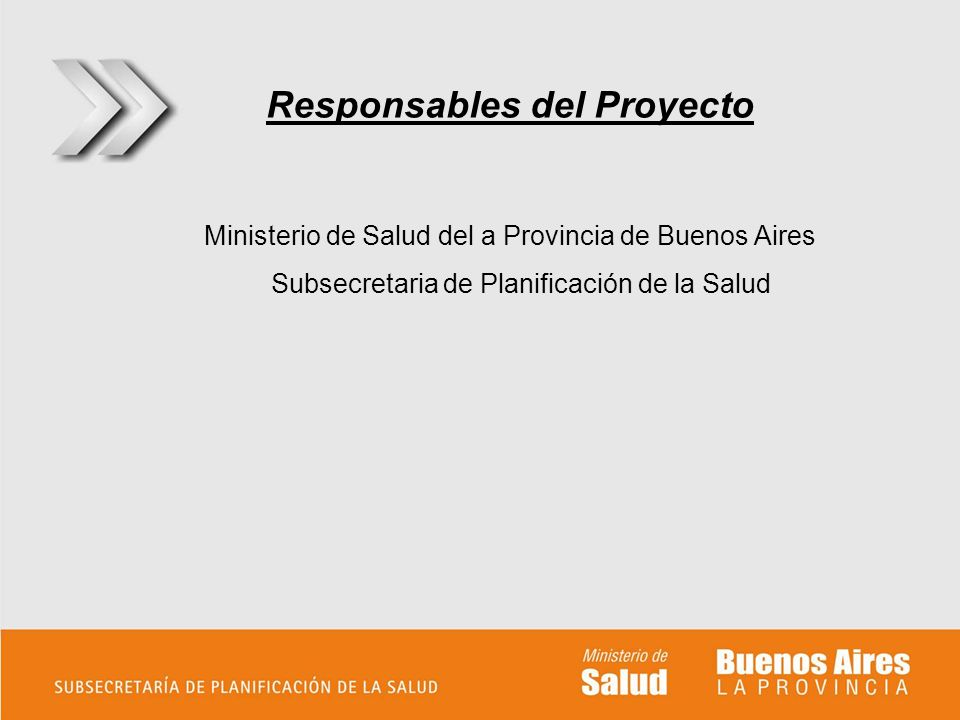Responsables del Proyecto Ministerio de Salud del a Provincia de Buenos Aires Subsecretaria de Planificación de la Salud