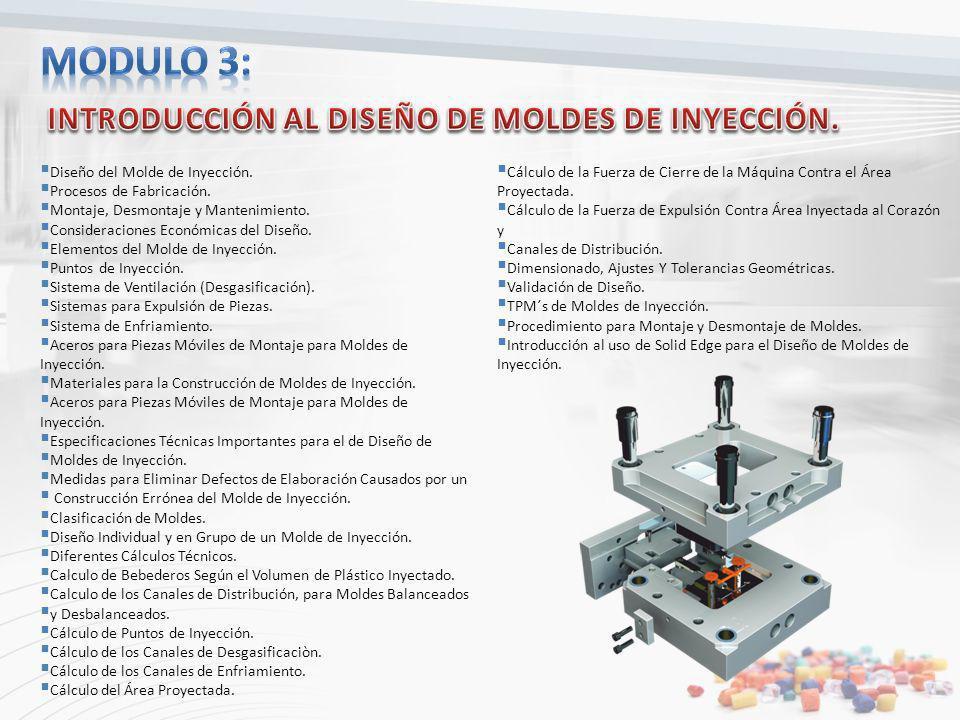 Diseño del Molde de Inyección. Procesos de Fabricación. Montaje, Desmontaje y Mantenimiento. Consideraciones Económicas del Diseño. Elementos del Mold