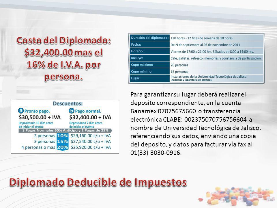 Para garantizar su lugar deberá realizar el deposito correspondiente, en la cuenta Banamex 07075675660 o transferencia electrónica CLABE: 002375070756