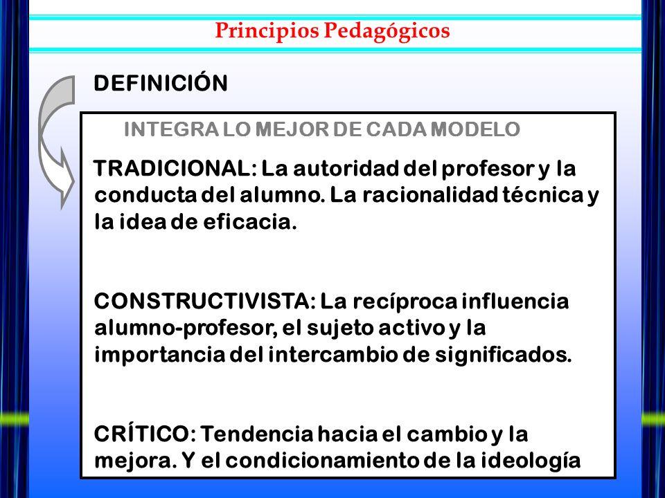 INTEGRA LO MEJOR DE CADA MODELO TRADICIONAL: La autoridad del profesor y la conducta del alumno. La racionalidad técnica y la idea de eficacia. CONSTR