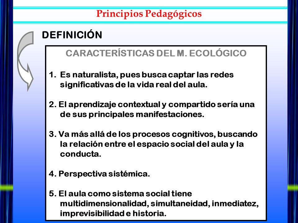 CARACTERÍSTICAS DEL M. ECOLÓGICO 1.Es naturalista, pues busca captar las redes significativas de la vida real del aula. 2. El aprendizaje contextual y