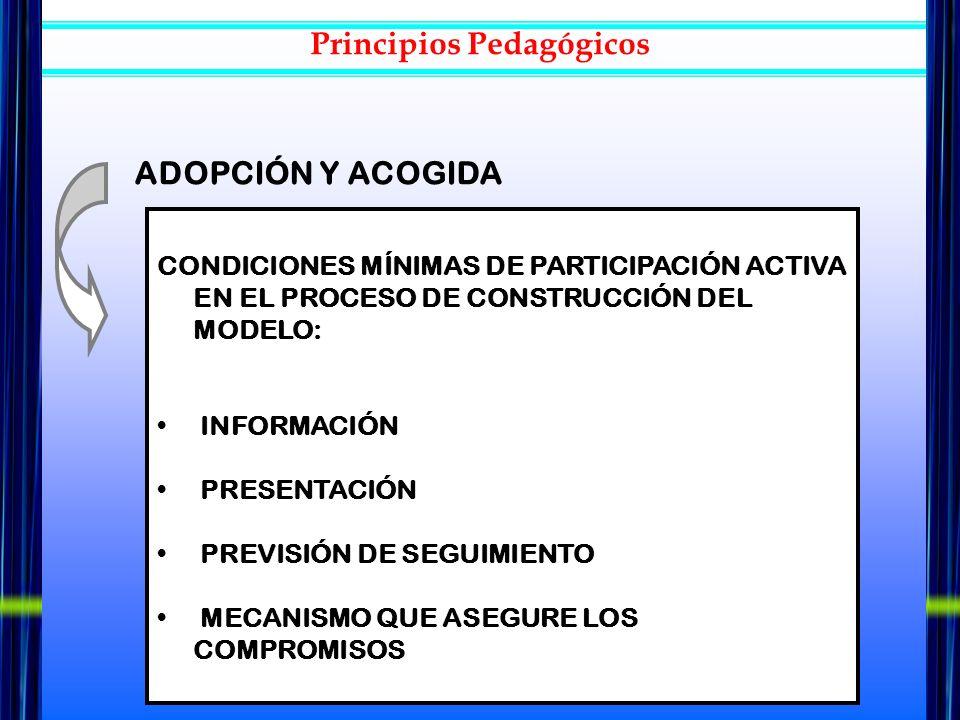 CONDICIONES MÍNIMAS DE PARTICIPACIÓN ACTIVA EN EL PROCESO DE CONSTRUCCIÓN DEL MODELO: INFORMACIÓN PRESENTACIÓN PREVISIÓN DE SEGUIMIENTO MECANISMO QUE