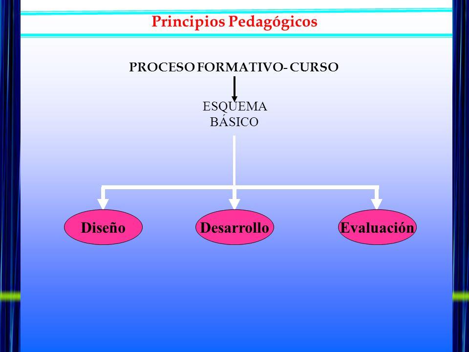Principios Pedagógicos ESQUEMA BÁSICO Diseño DesarrolloEvaluación Coherente Unitario Meditado Sistemático … MODELO DE PLANIFICACIÓN PROCESO FORMATIVO- CURSO