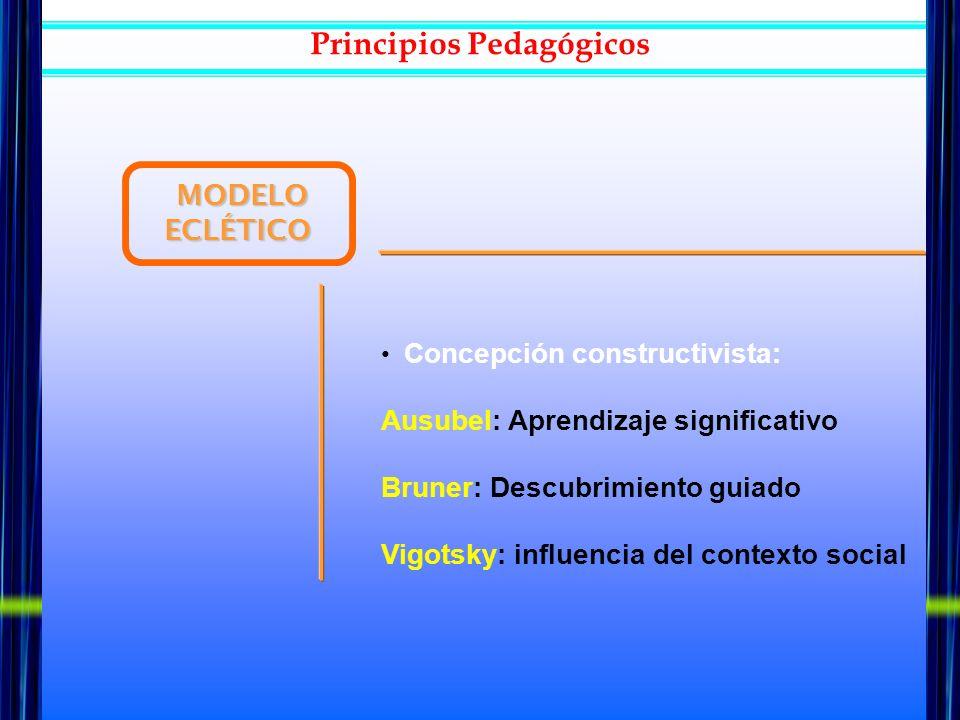 MODELO ECLÉTICO MODELO ECLÉTICO Concepción constructivista: Ausubel: Aprendizaje significativo Bruner: Descubrimiento guiado Vigotsky: influencia del