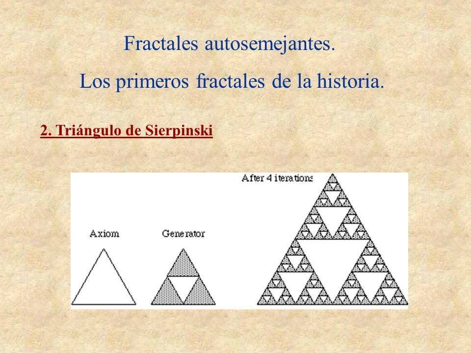 Fractales autosemejantes. Los primeros fractales de la historia. 2. Triángulo de Sierpinski
