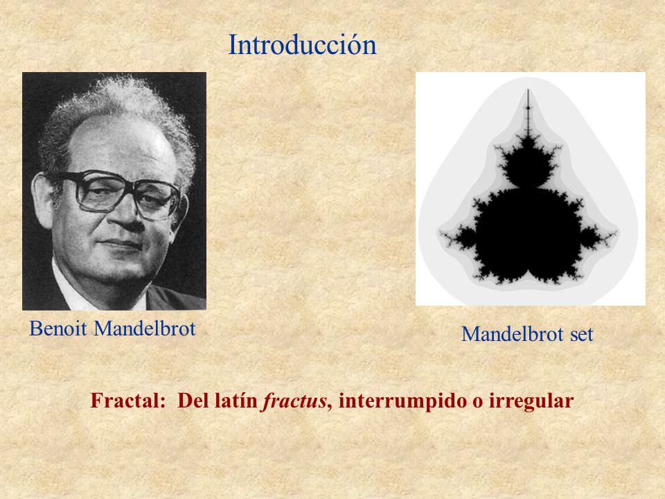 Introducción Benoit Mandelbrot Fractal: Del latín fractus, interrumpido o irregular Mandelbrot set
