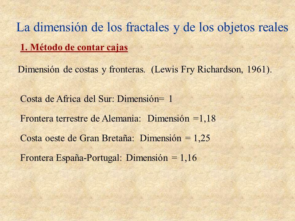 La dimensión de los fractales y de los objetos reales 1. Método de contar cajas Dimensión de costas y fronteras. (Lewis Fry Richardson, 1961). Costa d