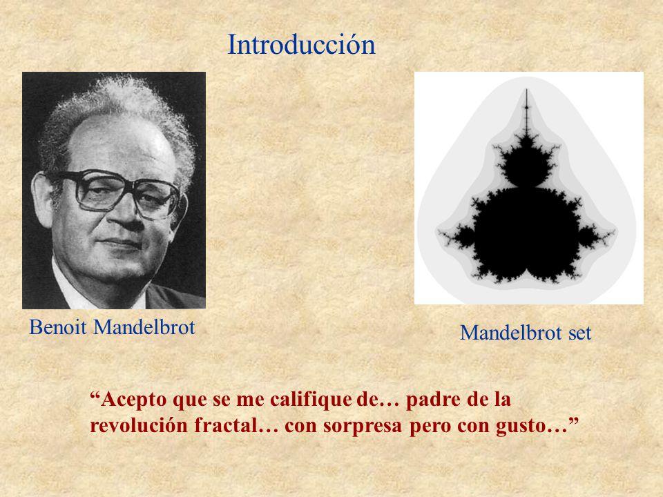 Introducción Benoit Mandelbrot He concebido, puesto a punto y utilizado extensamente una nueva geometría de la naturaleza Mandelbrot set