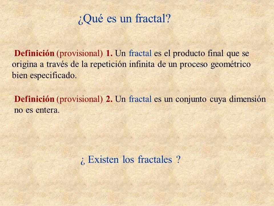 ¿Qué es un fractal? Definición (provisional) 1. Un fractal es el producto final que se origina a través de la repetición infinita de un proceso geomét