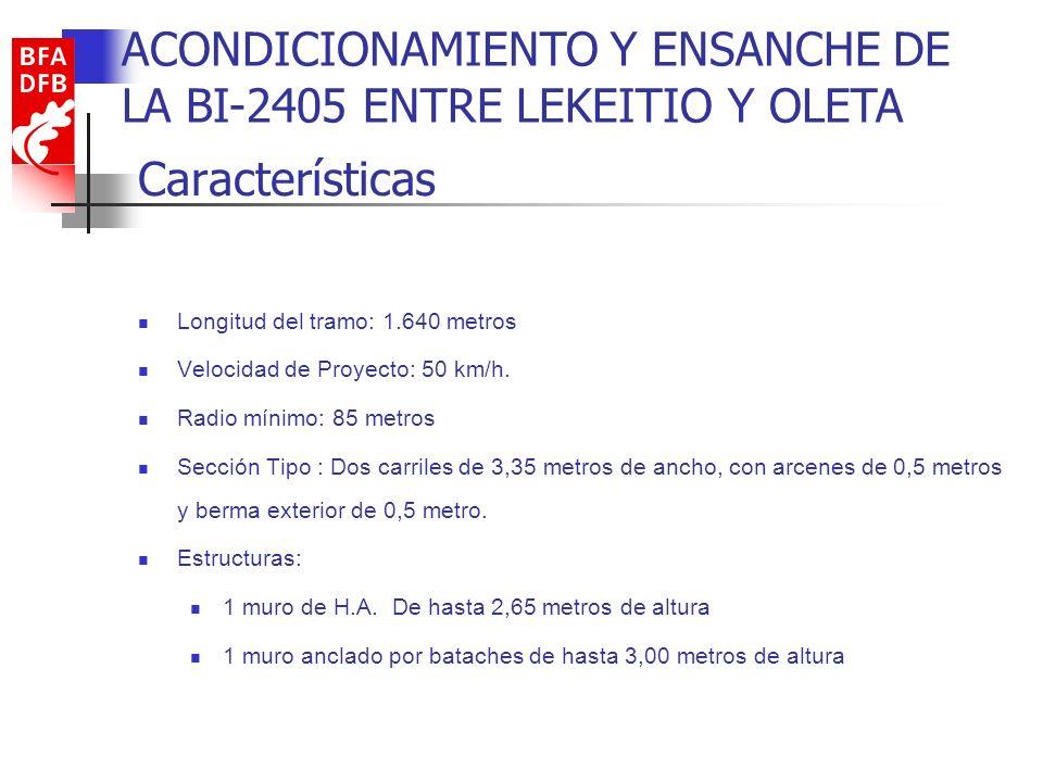 Características Longitud del tramo: 1.640 metros Velocidad de Proyecto: 50 km/h. Radio mínimo: 85 metros Sección Tipo : Dos carriles de 3,35 metros de