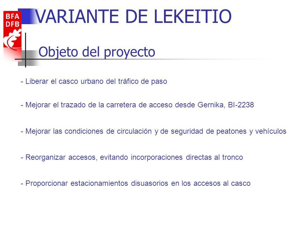 Elementos VARIANTE DE LEKEITIO Tramo 1: Mejora y rectificado de trazado de la BI-2238, con 1.550 metros de longitud Tramo 2: Ejecución de la Variante Oeste con 1.500 metros de longitud, proporcionando la conexión de las carreteras forales de acceso al casco Construcción de dos rotondas que articulan los tráficos de entrada y salida al casco urbano con el tráfico de paso: Rotonda de Lekeitio: conecta los tramos de la Variante, y tiene un diámetro interior de 40 metros.