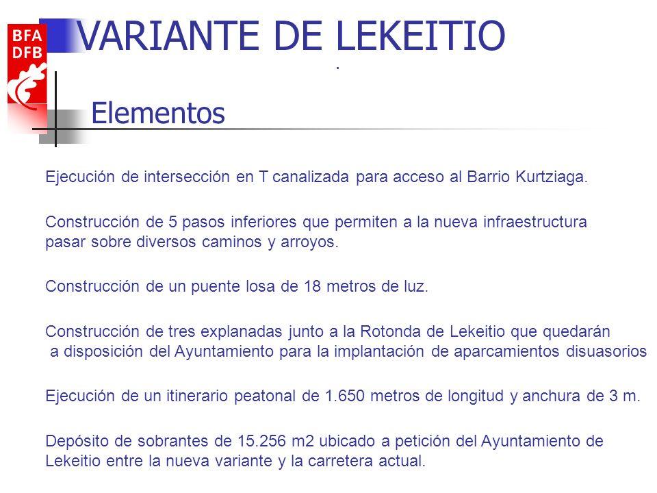 Características VARIANTE DE LEKEITIO Longitud del tronco de proyecto: 3 km.