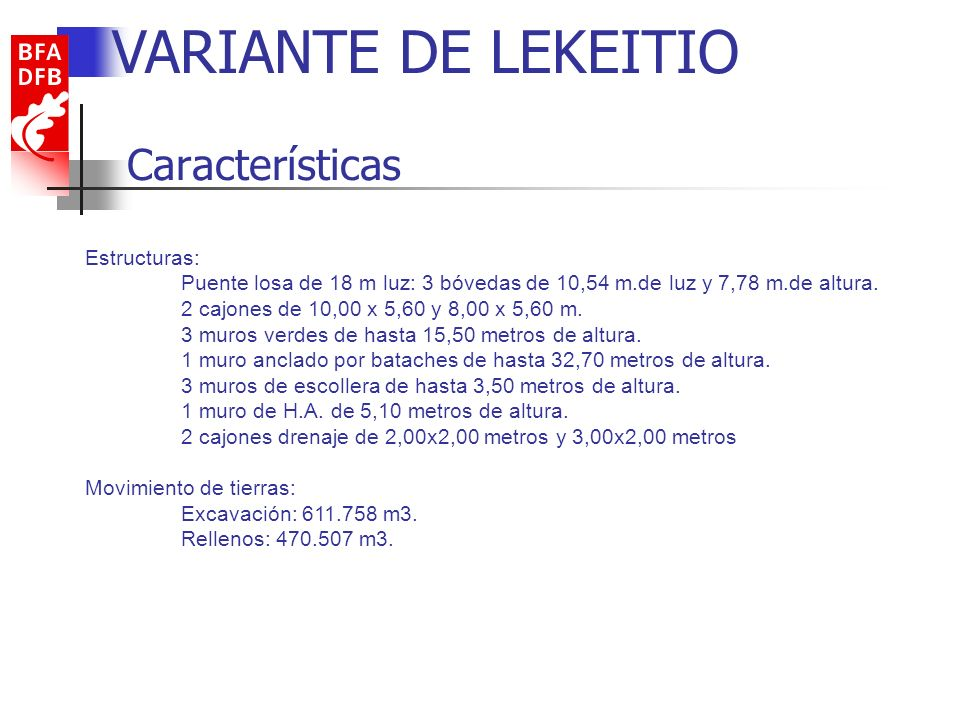 Características VARIANTE DE LEKEITIO Estructuras: Puente losa de 18 m luz: 3 bóvedas de 10,54 m.de luz y 7,78 m.de altura. 2 cajones de 10,00 x 5,60 y