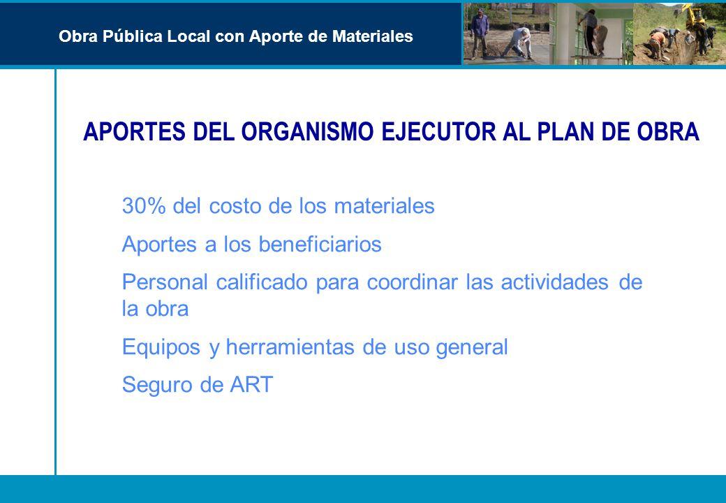 APORTES DEL ORGANISMO EJECUTOR AL PLAN DE OBRA Obra Pública Local con Aporte de Materiales 30% del costo de los materiales Aportes a los beneficiarios