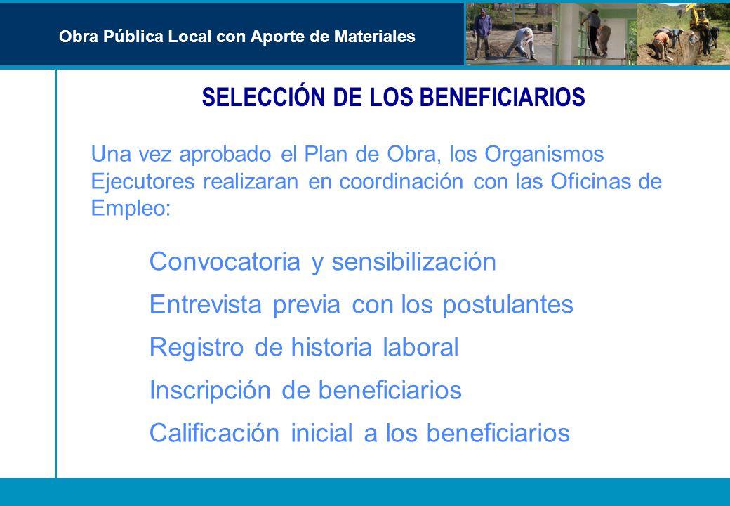 SELECCIÓN DE LOS BENEFICIARIOS Una vez aprobado el Plan de Obra, los Organismos Ejecutores realizaran en coordinación con las Oficinas de Empleo: Conv