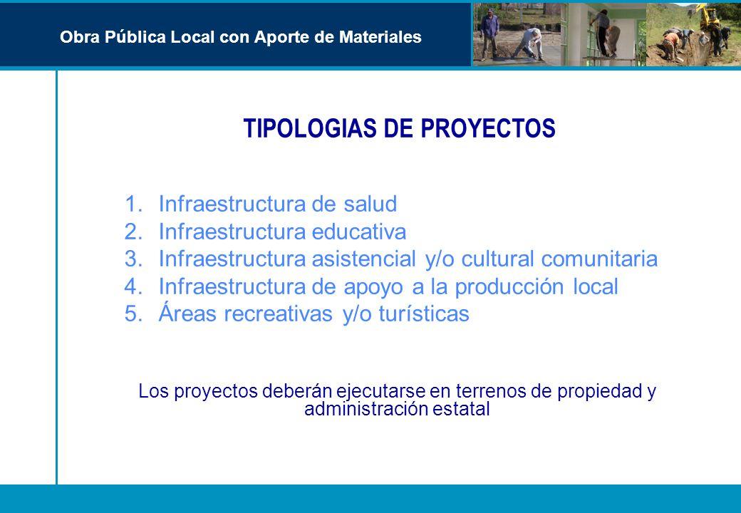 TIPOLOGIAS DE PROYECTOS 1.Infraestructura de salud 2.Infraestructura educativa 3.Infraestructura asistencial y/o cultural comunitaria 4.Infraestructur