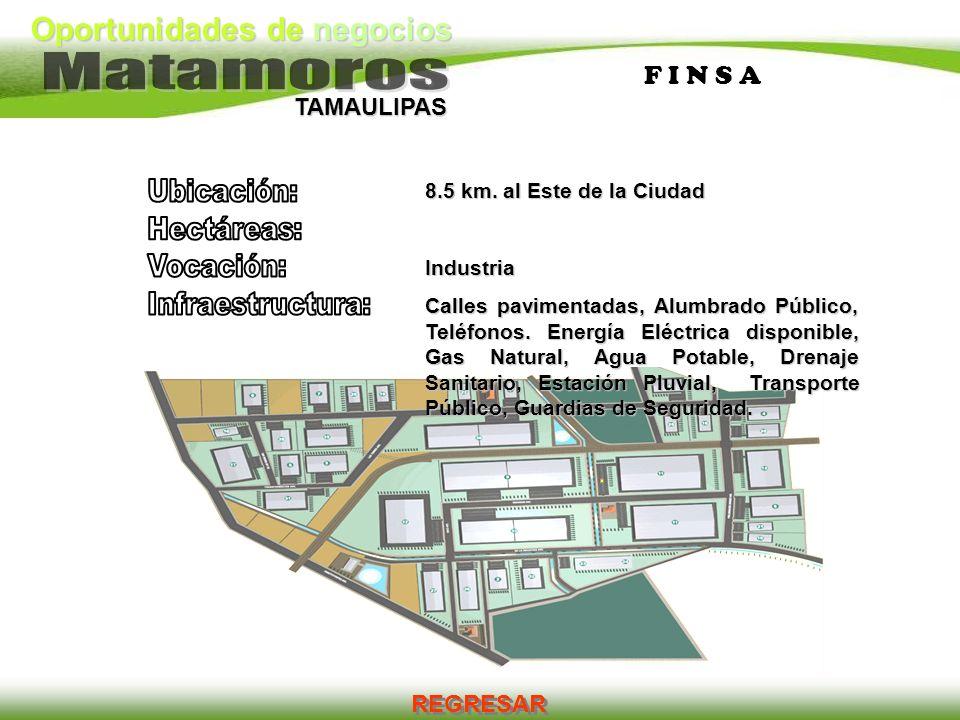 Oportunidades de negocios TAMAULIPAS F I N S AF I N S A 8.5 km. al Este de la Ciudad Industria Calles pavimentadas, Alumbrado Público, Teléfonos. Ener