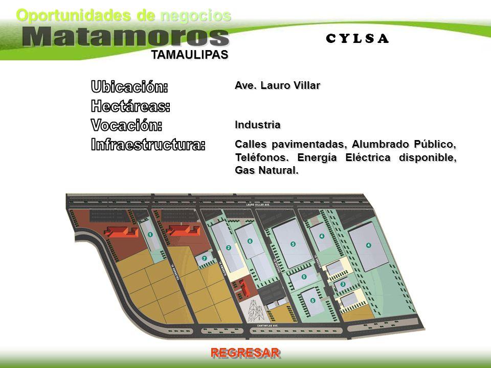 Oportunidades de negocios TAMAULIPAS C Y L S AC Y L S A REGRESAR Ave. Lauro Villar Industria Calles pavimentadas, Alumbrado Público, Teléfonos. Energí